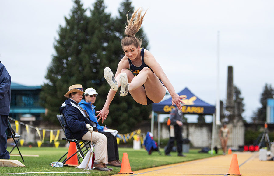 Athlete jumps in the air.