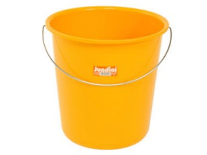 A plastic yellow bucket.