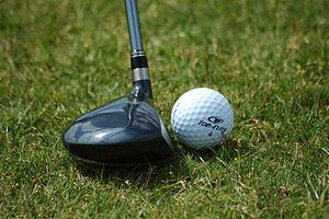 Fairway wood positioned near golf ball - Image via Wikipedia