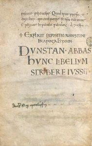 Theological manuscript from Glastonbury Abbey (Bodleian Library):Abbot Dunstan ordered the writing of this book. (Photo credit: Wikipedia)