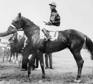 Sir Barton and jockey Johnny Loftus, 1919 Preakness Stakes (Photo credit: Wikipedia)