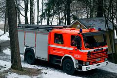 Firefighters were in positions in Seurasaari at Helsinki.. (Photo credit: godzax)