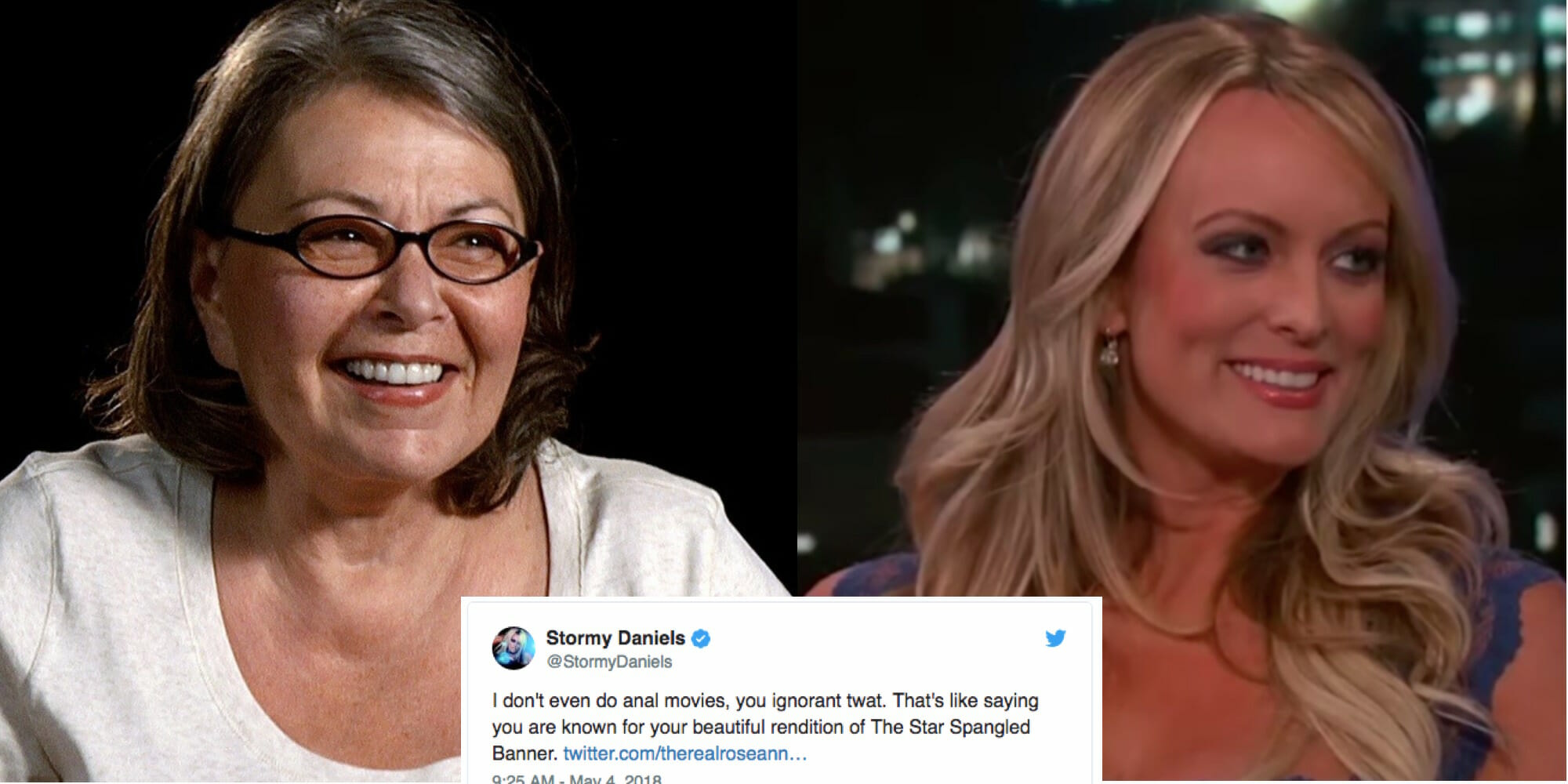 Stormy Daniels  Roseanne Barr Spat on Twitter  Society Grieves Stormy Daniels spars with Roseanne Barr on Twitter over anal sex  national  anthem