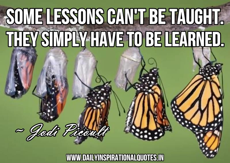 Some lessons can't be taught. they simply have to be learned. ~ Jodi Picoult