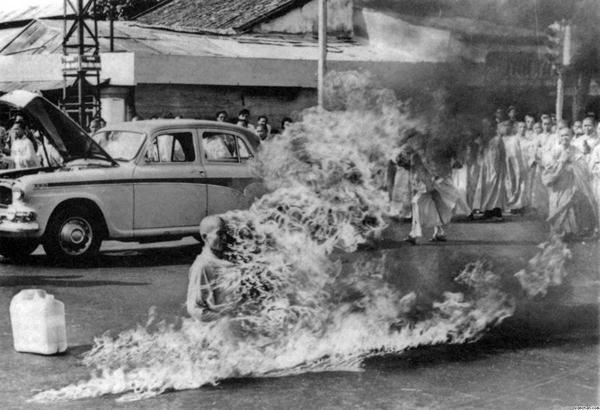 This Picture of a Monk Thich Quang Duc, who allegedly burnt himself down. It was due to the rising rivalry between catholics and buddhists in the vietnam. The Monk didnt even move, he remained absolutely still even while burning.