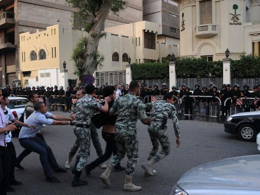 Protests outside the Saudi Embassy in Cairo demanded the release of detained Egyptian lawyer Ahmed Al-Gizawy (file photo)