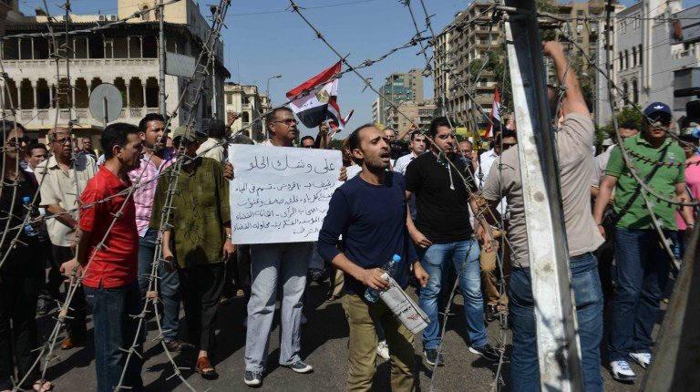Protesters gather near the Presidential Palace in Heliopolis, Cairo Mohamed Omar