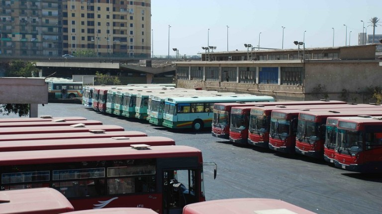 Buses stuck in the depot after transport workers went on strike Mohamed Omar