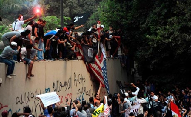 Egyptians protest against the Innocence of Islam video at the U.S. embassy in Cairo in September 2012. (AFP)