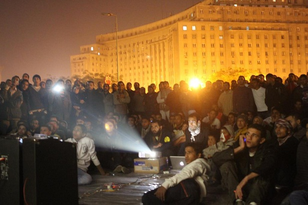 Mosireen film evening in Tahrir Square Courtesy of Mosireen's Facebook page