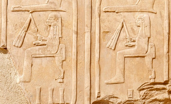Cartouches of Queen Hatshepsut on the walls of the quarter