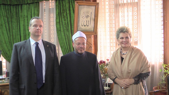 The Grand Mufti with Ms. Katalin Bogyay and Dr. Peter Kveck Courtesy of Dar Al Ifta