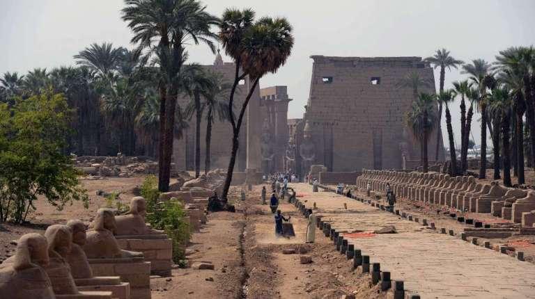 Restoration work at the Luxor temple AFP Photo / Khaled Desouki