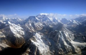 This photograph taken from an aircraft shows an aerial view of Mount Everest in Nepal on April 3, 2013 (AFP/File, Prakash Mathema)