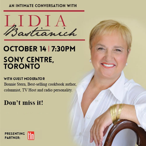 WIN (2) TICKETS TO SEE LIDIA BASTIANICH IN TORONTO!