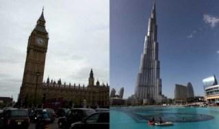 Simbol kedua Negara; Menara Jam Big Ben di London (kiri) dan Menara Burj Khalifa di Dubai (kanan)