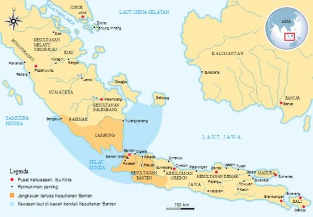 Peta sejarah Kesultanan Banten (1527–1813). (Foto: wikipedia / Gunawan Kartapranata)