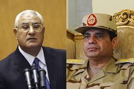 Di antara tokoh penting kudeta militer di Mesir, Ketua MK Adly Mansour dan mantan Menhan Al-Sissi (aljazeera)