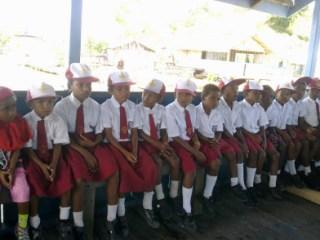 Murid-murid Sekolah Dasar di Raja Ampat (ilustrasi).  (dyahpamelablog.worldpress.com)