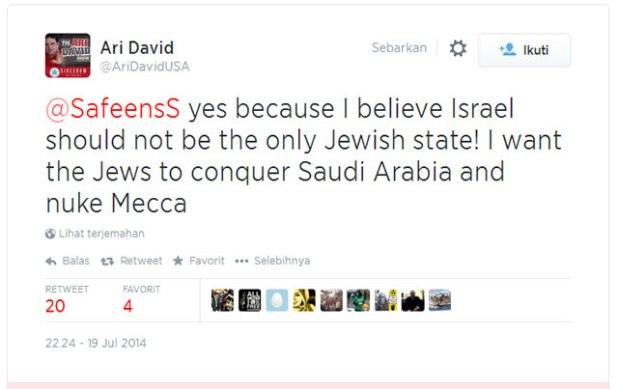 Pernyataan @AriDavidUSA yang meminta Yahudi taklukkan Arab Saudi dan nuklir Mekah. (dakwatuna/hdn)