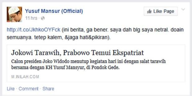 Cuplikan status Akun Facebook Ustadz Yusuf Mansur pada hari Selasa (1/7/2014) yang merupakan relay dari akun Twitter @Yusuf_Mansur. (dakwatuna/hdn)