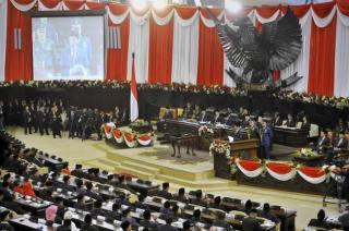 Suasana sidang Paripurna Pelantikan Presiden RI ke-7, Senin (20/10/14).  (id.berita.yahoo.com)