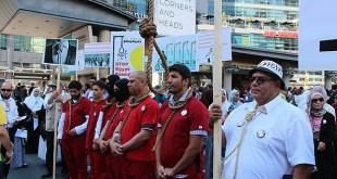 Aksi teatrikal menentang hukuman mati Presiden Mursi (aa.com.tr)