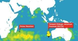 Pergerakan benda di Samudera Hindia berdasarkan simulasi arus laut di situs adrift.org.au (CNN)