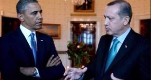 Presiden Turki, Erdogan sedang berbincang dengan Presiden AS, Barack Obama. (Islammemo.cc)