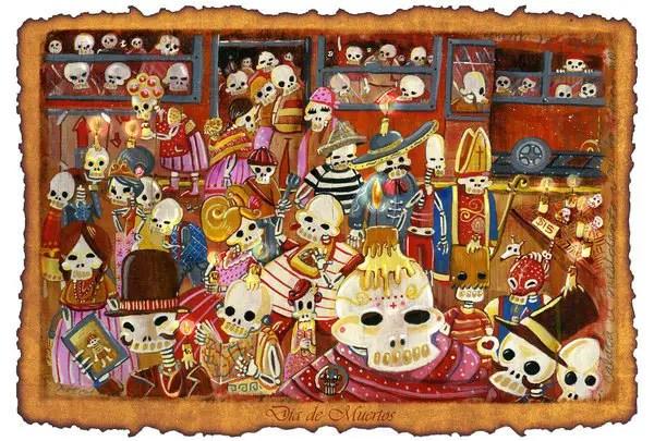 Dia de los muertos skull template