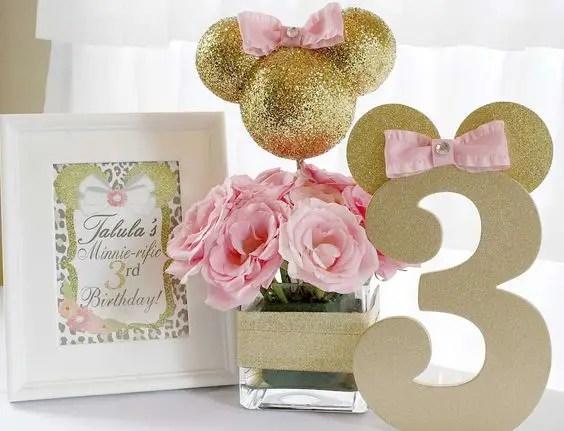 Decoracion Minnie Mouse Rosa ~   de minnie en dorado y rosa Minnie Mouse minnie mouse en oro y rosa