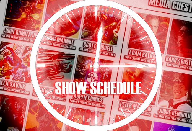 Q&A and photo op schedule for Dallas Comic Show on August 6-7