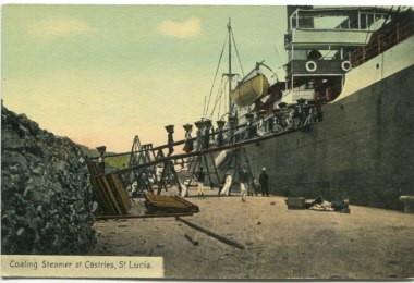 Coaling Steamer at Castries, St Lucia. 1905