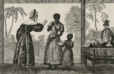 A white Creole plantation mistress angrily rebukes her household slaves (1837)