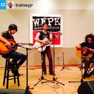 Earlier in the day, Pete, CTT, and Fathead perform on WFPK. Photo: @trainleyjr