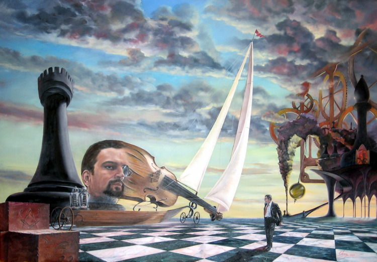 Daniel C. Chiriac self portrait surrealist art oil ...