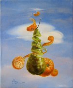 Surrealistic painting with fruit and a miniature oil painting of a plum on a lace tablecloth