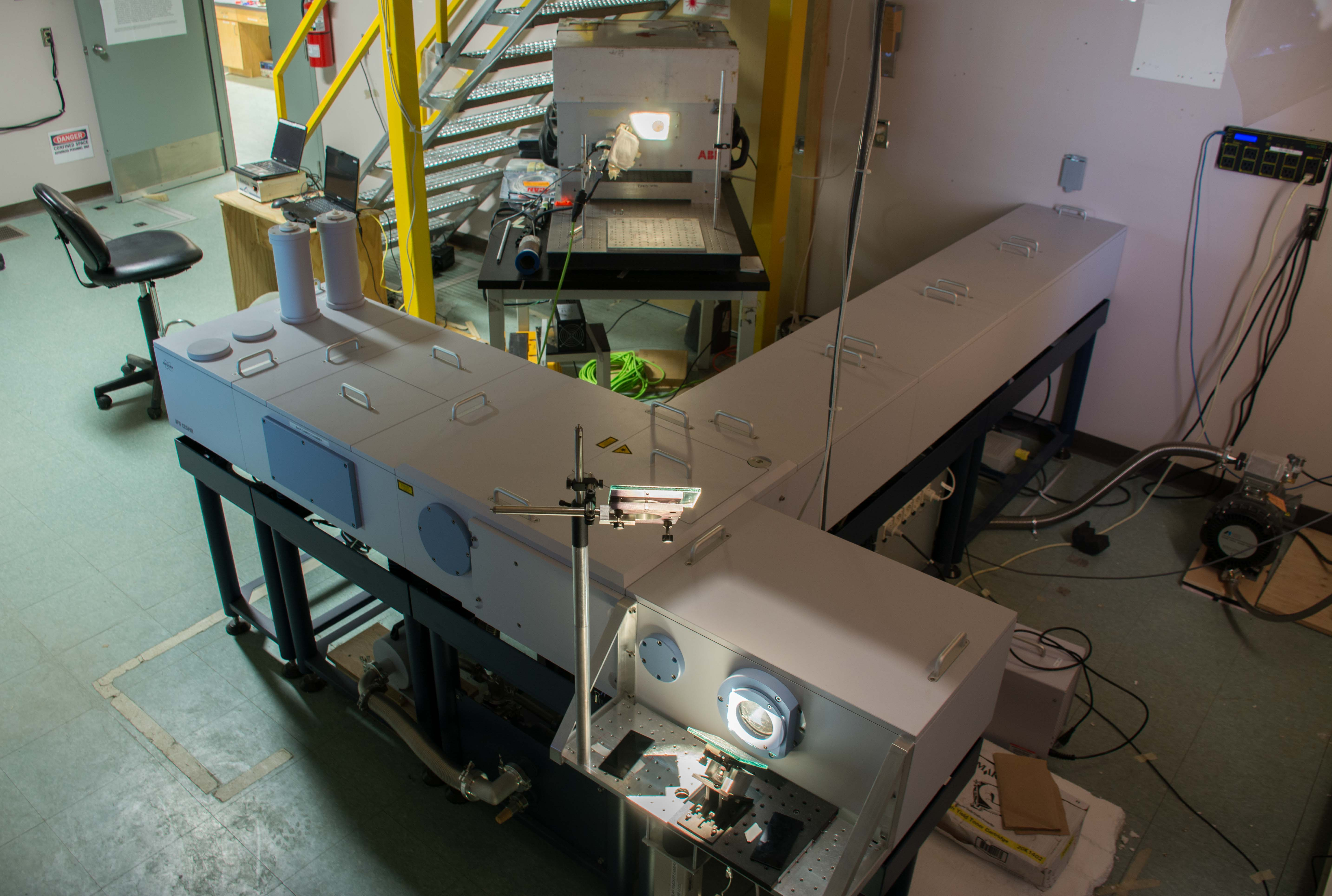 The IR Lab: two FTIR spectrometers split a solar beam from the roof suntracker.