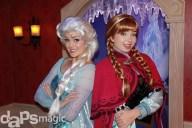 Elsa & Anna at Disneyland's Frozen Meet n' Greet Location