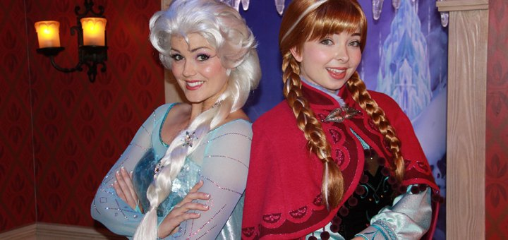Elsa & Anna at Disneyland's Frozen Meet n' Greet Location