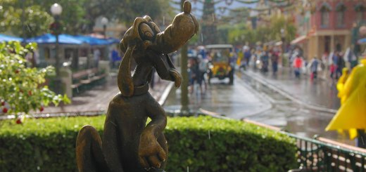 Pluto in the Rain on Main Street at Disneyland