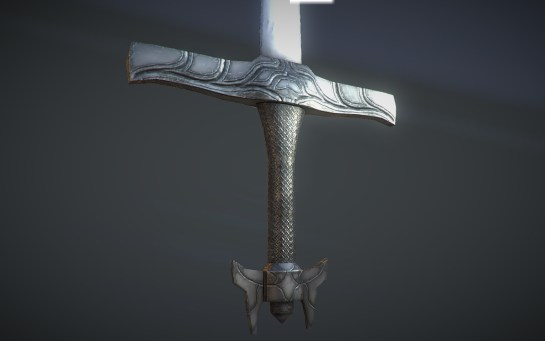 Close-up shot of the silver longsword.