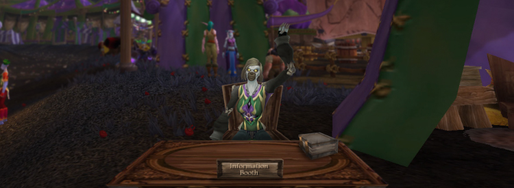 Selina welcoming you to the Darkmoon Faire