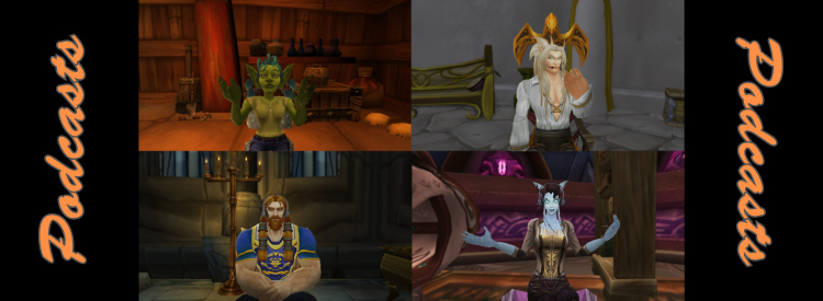 Banner with 4 characters discussing the on-goings of WoW.