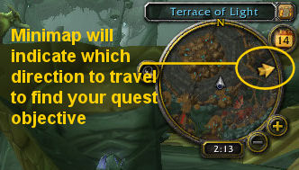 Warcraft minimap showing direction to quest objective