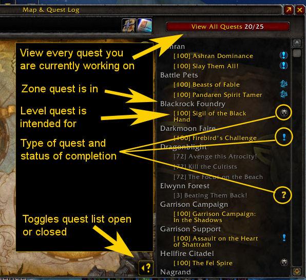 Quest log UI