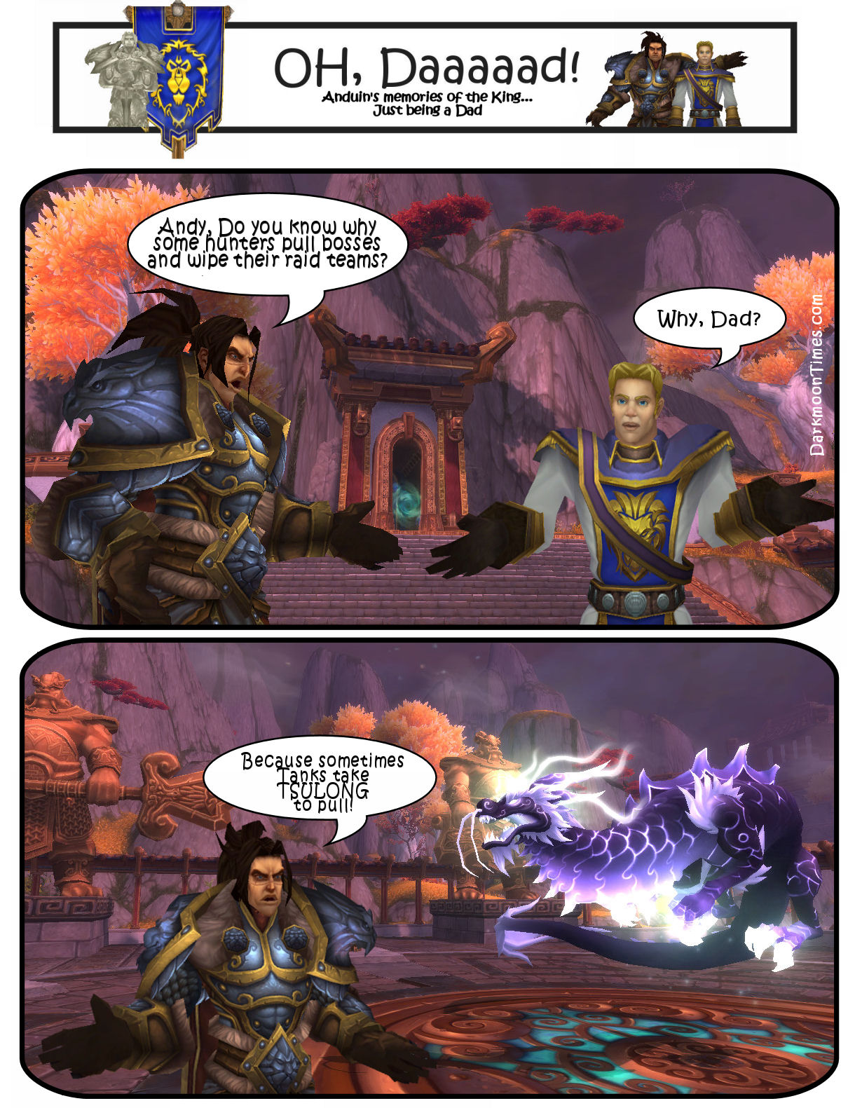 Image shows Varian asking Anduin Whyte do some hunters pull bosses? Because sometimes tanks take TSULONG to pull