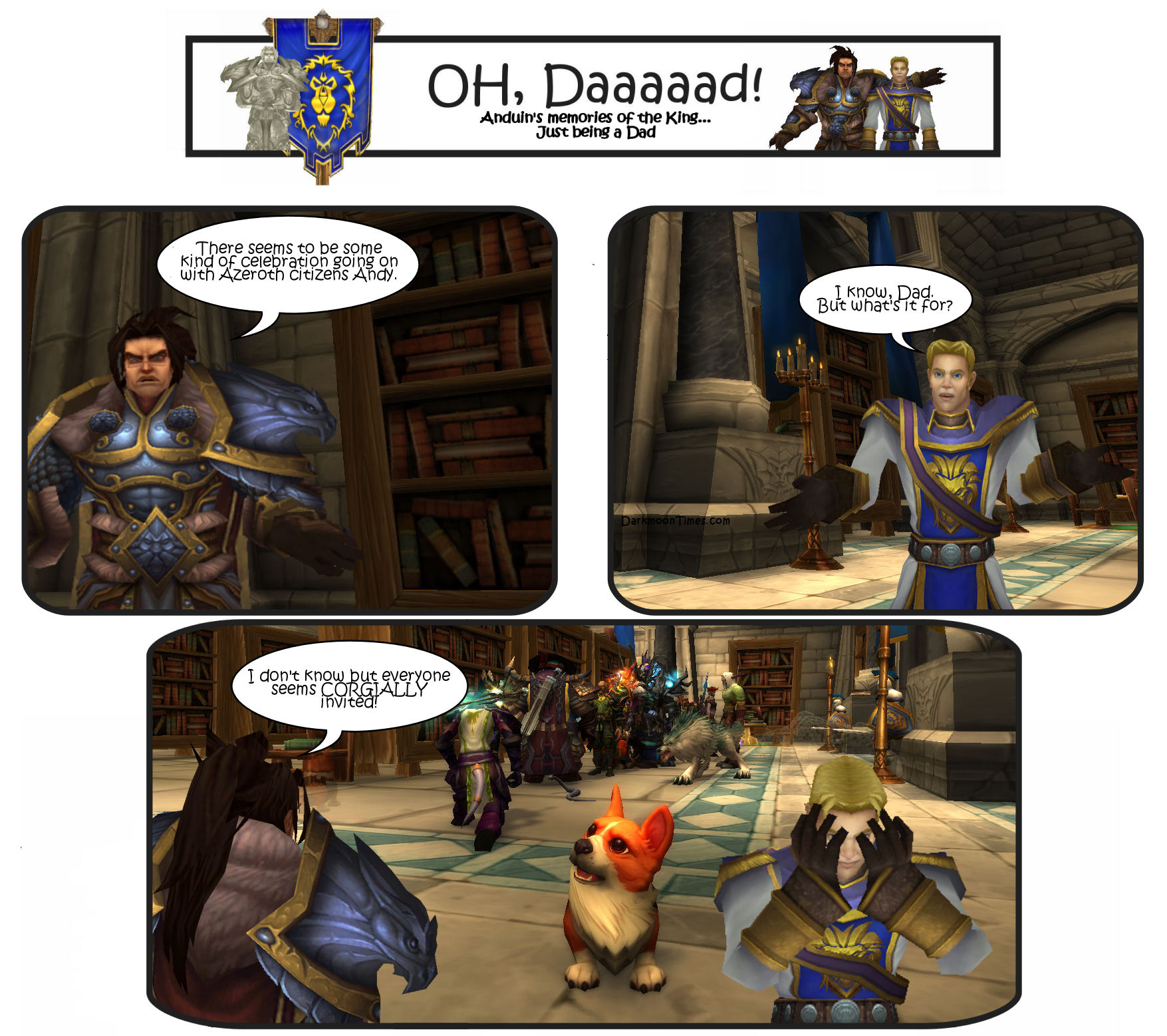 Image shows Variann telling Anduin a dad joke about being Corgially invited.  Has a Corgi pictured.