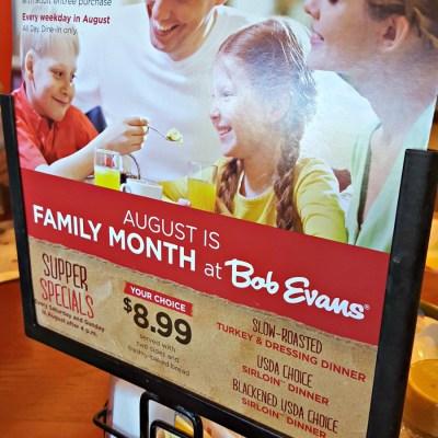 Kids Eat FREE Weeknights During #FamilyMonth at Bob Evans!