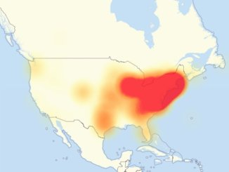 Map showing the area affected by Friday's DDoS on Dyn